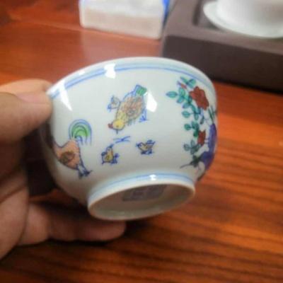 全手工彩绘仿古主人杯,小碗杯。