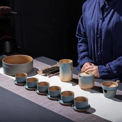 粗陶茶具套装日式复古茶壶茶洗杯垫陶瓷家用礼品创意渐变色陶土茶具