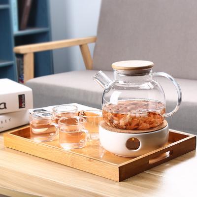 高硼耐热玻璃水壶带过滤欧式蜡烛加热水果花茶壶泡茶茶具
