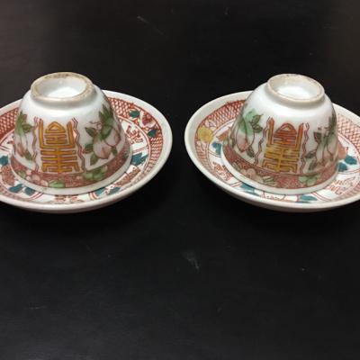 民国寿桃杯两套时代特色明显,杰具韵味,都是完好老物件.