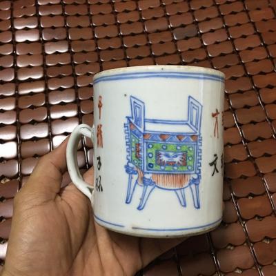 清朝斗彩博古耳杯收藏佳品,值得拥有!本店只售古旧茶具。