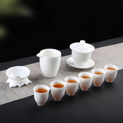 羊脂玉白瓷茶具,商务礼陶瓷功夫茶具套装,好茶还需配好器