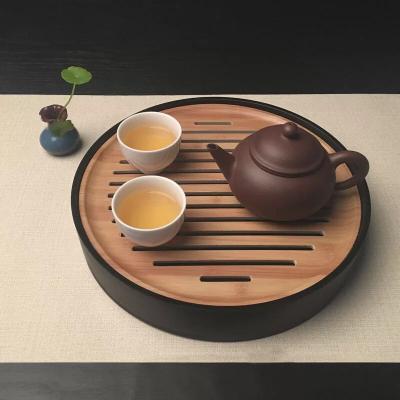 电木茶盘圆托盘25㎝x25㎝x5㎝小茶盘盛水干泡台
