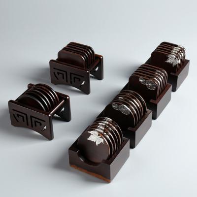 黑檀实木杯垫圆形方形家用创意中国风茶道配件套装茶托