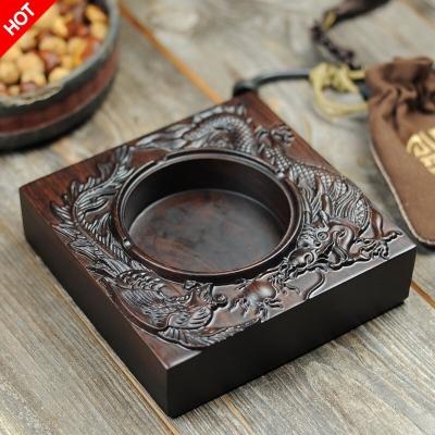 烟灰缸 整块黑檀木实木高档创意禅意加厚茶道伴侣送礼精品