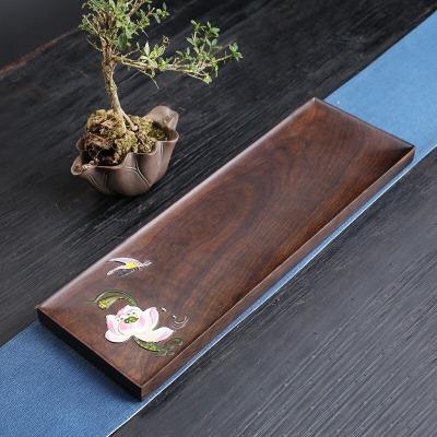 彩绘茶盘黑檀整块实木家用平板手绘复古长方日式托盘茶台45*15*2.5