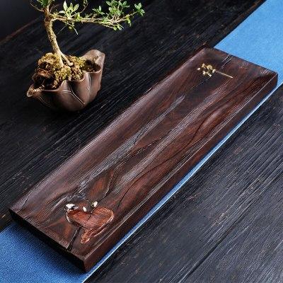 彩绘干泡台茶盘黑檀整块实木手绘家用禅意复古创意茶具茶托45*15*3