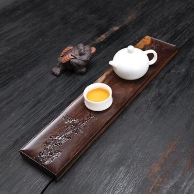 干泡台长方形小茶盘黑檀实木整块家用创意浮雕茶托盘