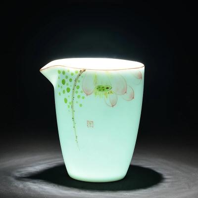功夫茶具配件龙泉青瓷手绘公道杯分茶器公道茶杯景德镇公道杯陶瓷