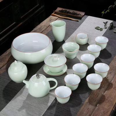 喝茶泡茶白瓷功夫茶具茶盘套装家用简约泡茶壶盖碗茶杯整套