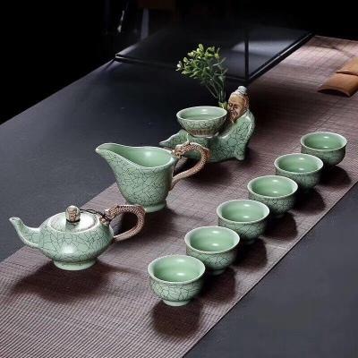 茶具套装青瓷汝窑青瓷茶杯礼盒包装礼品功夫茶具定制