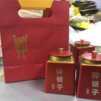 云南普洱熟茶糯米香8年碎银子礼盒装茶化石老茶头罐装一斤两罐