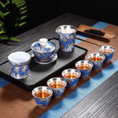 鎏银茶具套装家用功夫泡茶器银茶杯珐琅彩泡茶壶礼盒装送长辈