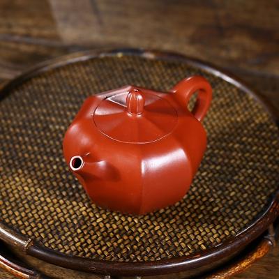 正宗宜兴紫砂壶筋纹玉珠壶原矿大红袍200容量
