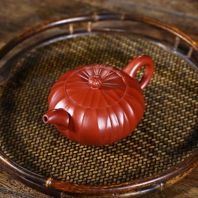 正宗宜兴紫砂壶筋纹玉露壶原矿大红袍容量200