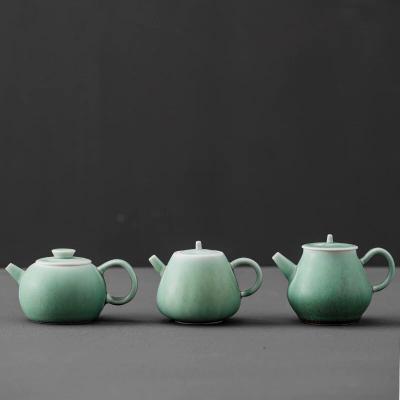 日式陶瓷汉锋茶壶带把仿古家用单壶窑变苏打绿原矿泡茶壶功夫茶具