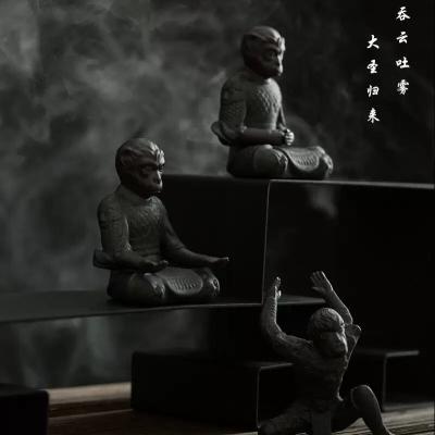 齐天大圣孙悟空创意汽车载摆件手机架陶瓷可爱猴子桌面车内装饰品