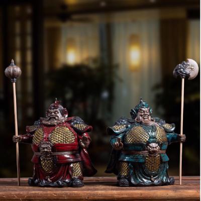 王顺哼哈二将门神紫砂人物雕塑工艺品 家居风水镇宅辟邪大号礼品 摆件