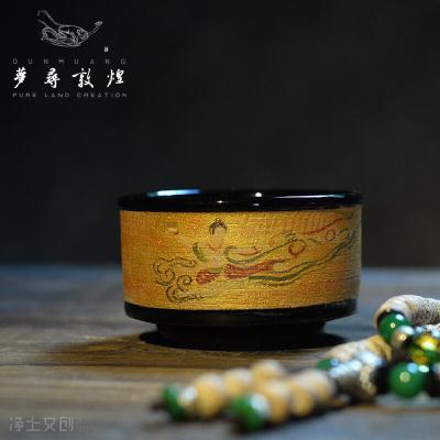 描金手绘茶杯手工陶瓷主人杯复古家用功夫茶具窑变功夫茶杯