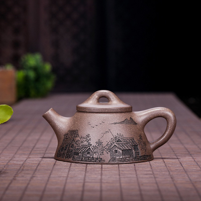 宜兴紫砂壶霸王石瓢壶高温段泥容量180手工制作