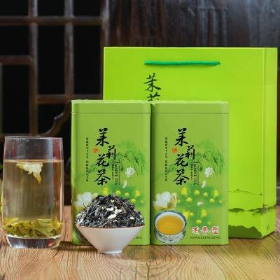 茉莉花茶飘雪绿茶浓香型新茶茉莉花茶叶罐装礼盒装茶叶500克