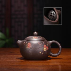 宜兴紫砂壶梅花西施壶原矿黑金刚1.容量150球孔出水有内壁章