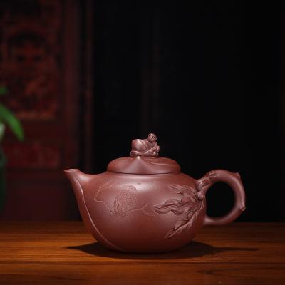 宜兴紫砂壶寿桃壶原矿紫泥容量380手工制作