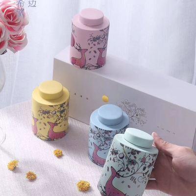 陶瓷花茶茶叶罐送礼首选