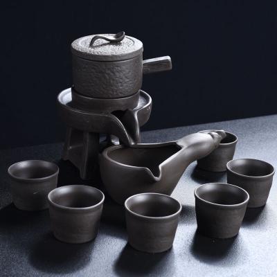 紫砂石磨半自动时来运转功夫茶具套装整套陶瓷茶壶防烫茶杯