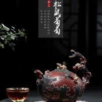 宜兴紫砂壶容量430常月红纯手工制作收藏级紫泥