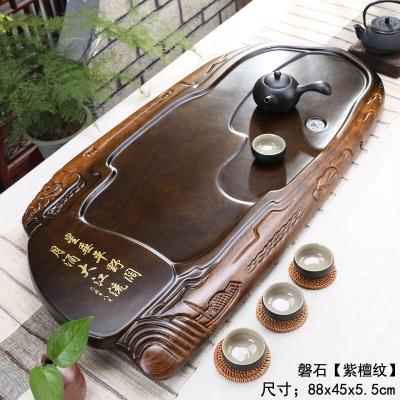 简易茶盘实木托盘家用现代简约花梨木功夫茶具大号黑檀木整块茶台