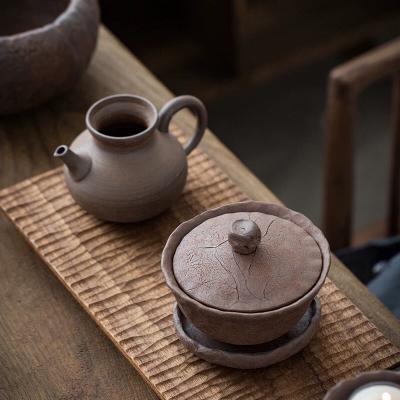 日式手工粗陶三才盖碗功夫茶具泡茶碗做旧禅意手抓碗泡茶器岩泥杯