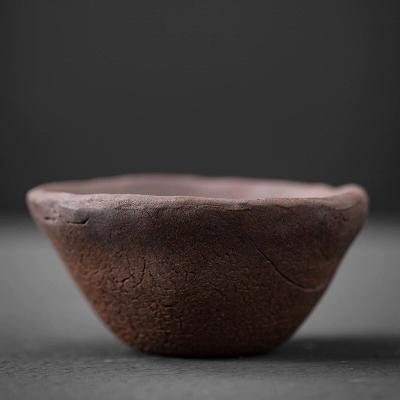 日式手工粗陶带把水杯禅意复古绿茶杯马克杯岩泥陶瓷办公室水杯子