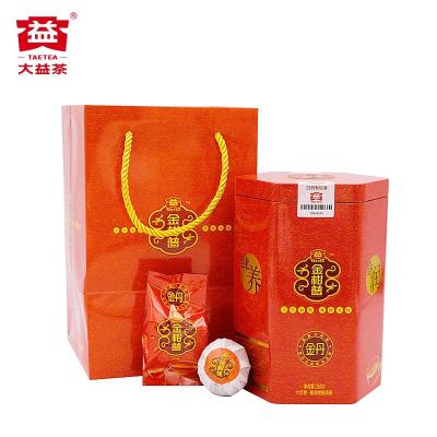 大益 普洱茶 金柑普金丹大红柑 2017年陈皮普洱熟茶叶260g/罐包