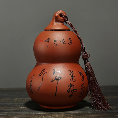 紫砂茶叶罐 大号葫芦密封储存罐 可装半斤茶