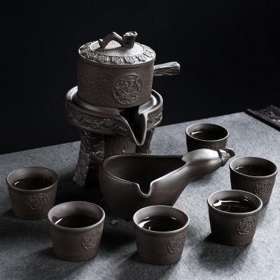 懒人半全自动创意石磨盘功夫泡茶器冰裂紫砂茶具套装家用陶瓷茶壶