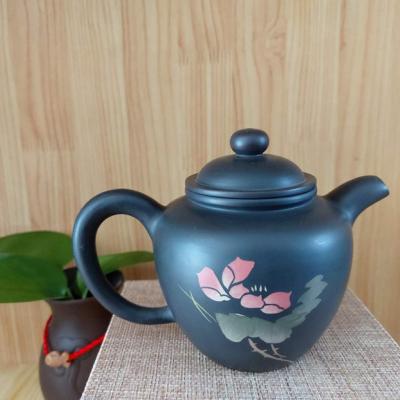 特惠云南建水纯手工制作紫陶高掇球彩填壶,普洱茶具,工艺精湛,古朴典雅。