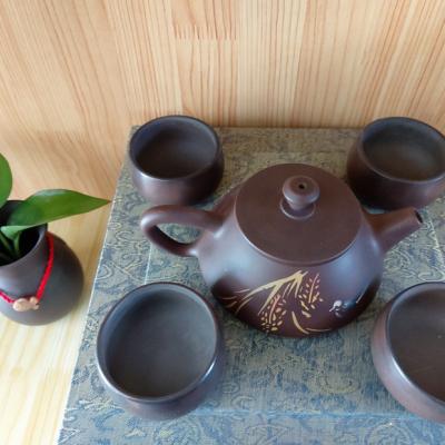 特惠云南建水纯手工石瓢彩填紫陶壶,1⃣️彩填壶4素杯,普洱茶具精湛古朴