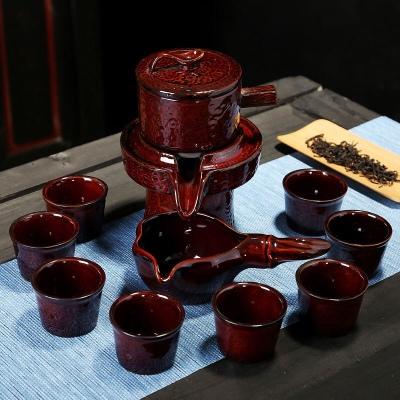 【一套八杯子】时来运转懒人石磨自动茶具套装陶瓷旋转烧好紫砂