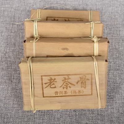 云南普洱茶 陈年老茶骨 250克茶梗砖茶 笋壳 陈香熟茶砖 红浓透亮