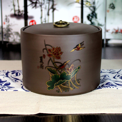 大号紫砂存茶罐茶叶罐鎏金陶瓷普洱茶密封罐宜兴紫泥罐茶具茶道配件特价