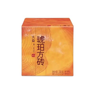 大益普洱茶熟茶1401批琥珀方砖60g*4片整盒装 勐海茶厂砖茶