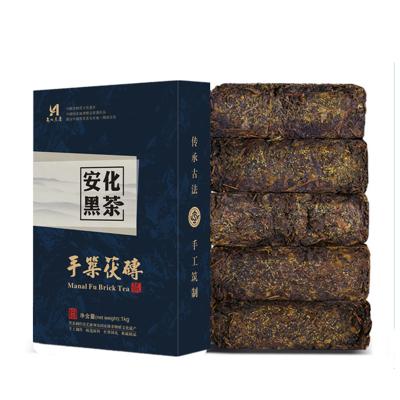 【送茶刀】湖南安化黑茶2015年手筑金花茯砖茶1000g正宗金花黑茶