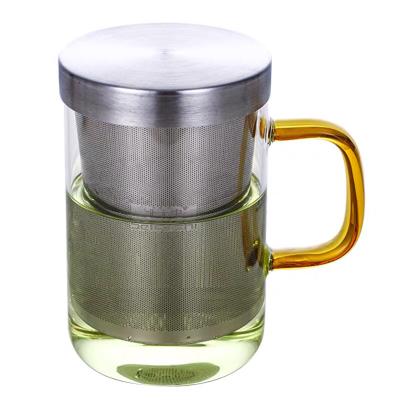 北大史玻璃茶杯带把不锈钢内胆滤茶耐热家用透明大号玻璃泡茶水杯