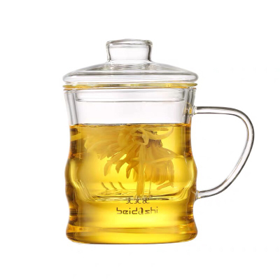 北大史玻璃杯泡茶杯耐热过滤办公室简约家用大容量带把水杯茶水杯