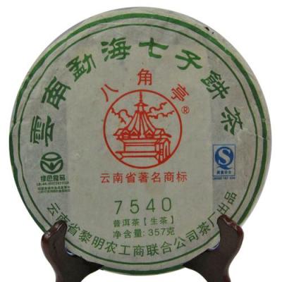年份真实2009年八角亭7540生普-条索显毫,汤色黄亮浓稠,香气纯正