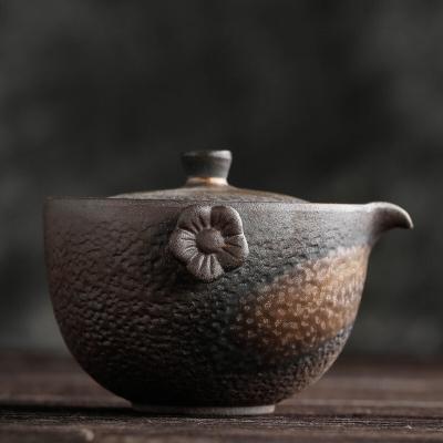 古早烧粗陶花型壶耳手抓壶 新中式手工复古陶瓷功夫茶具鎏金盖碗