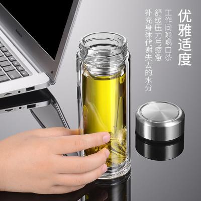 双层透明玻璃杯男便携带盖过滤女学生家用泡茶杯大容量创意水杯子