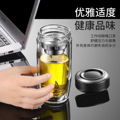 双层玻璃杯男女士水杯大容量隔热加厚泡茶杯子可定制logo