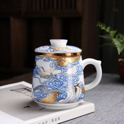 德化白瓷手工珐琅彩带盖过滤泡茶杯办公室主人陶瓷马克水杯子礼品